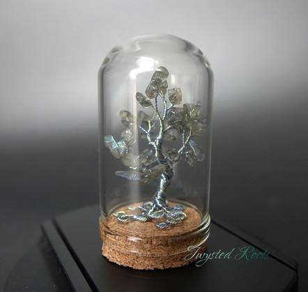 Miniature labradorite and wire tree sculpture