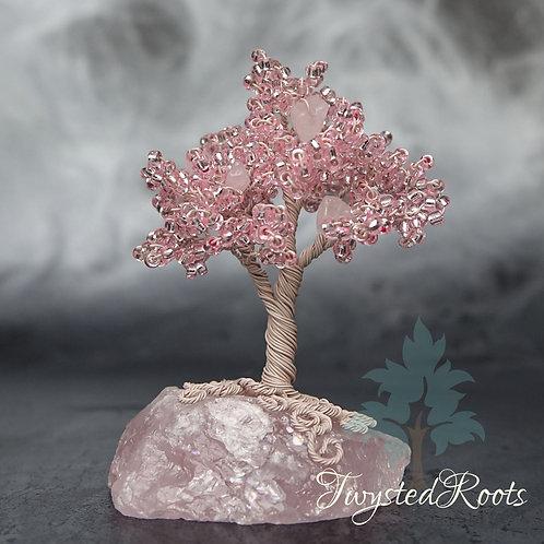 Rose Blossom - miniature wire tree sculpture on rose quartz