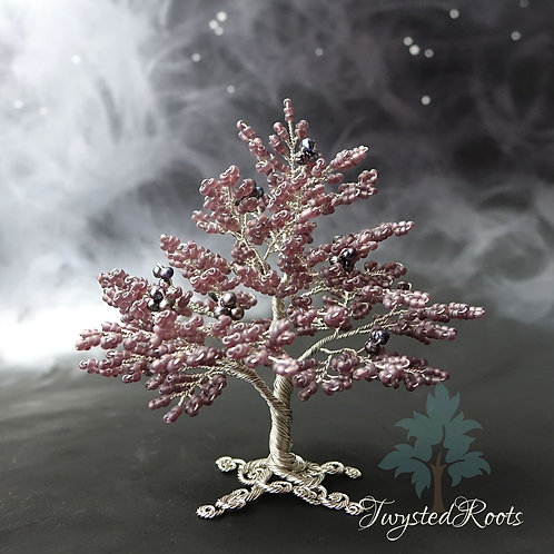 Frosted purple bead and peacock pearl silver wire tree sculpture