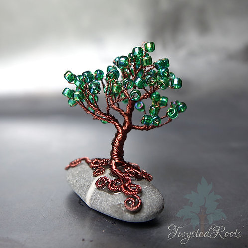 Miniature bead and wire tree sculpture