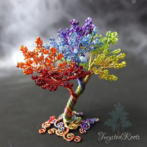 Rainbow bead and wire tree sculpture by Twysted Roots