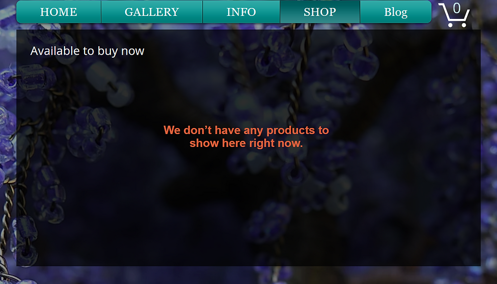 """Screenshot of Twysted Roots shop page on the website. Text reads """"We don't have any products to show here right now"""""""