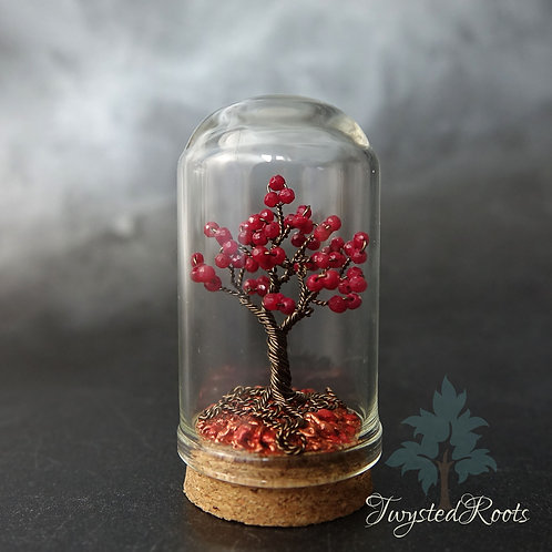 Miniature Ruby gemstone wire tree sculpture in a glass dome with a cork base