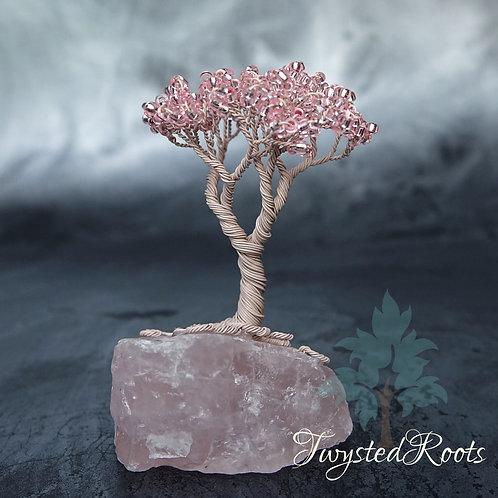 Petite Pink - miniature wire tree sculpture on rose quartz