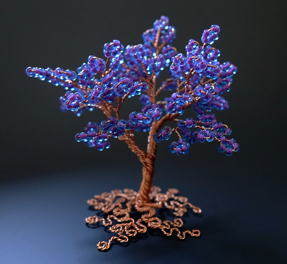 Purple and copper miniature tree of life sculpture