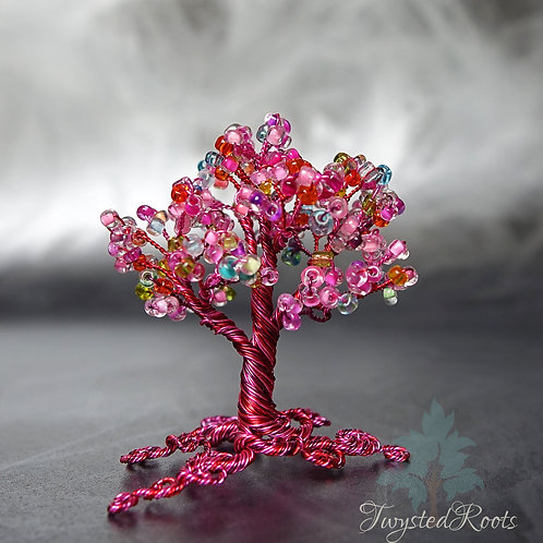Sunset View - miniature pink bead and wire tree sculpture