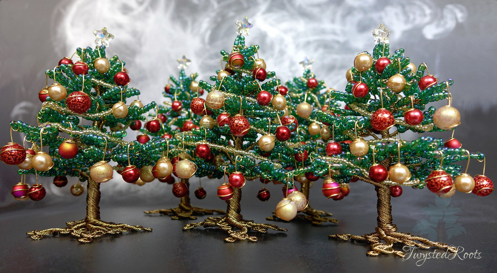 Five green red and gold bead and wire Christmas trees by Twysted Roots