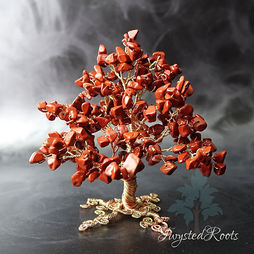 Red jasper gemstone wire tree sculpture by Twysted Roots