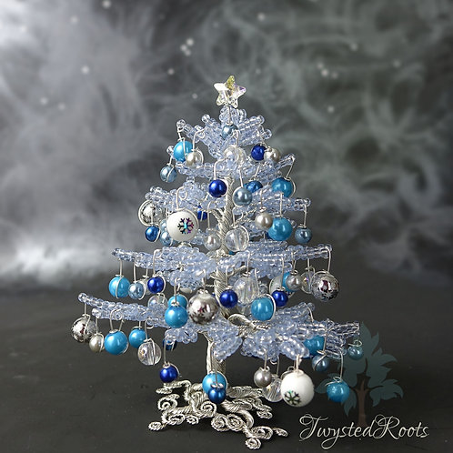 Blue and silver bead and wire Christmas tree by Twysted Roots