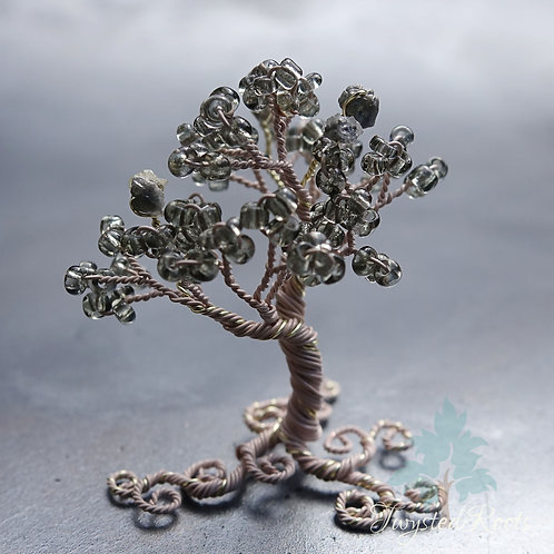 Miniature diamond and bead and wire tree sculpture