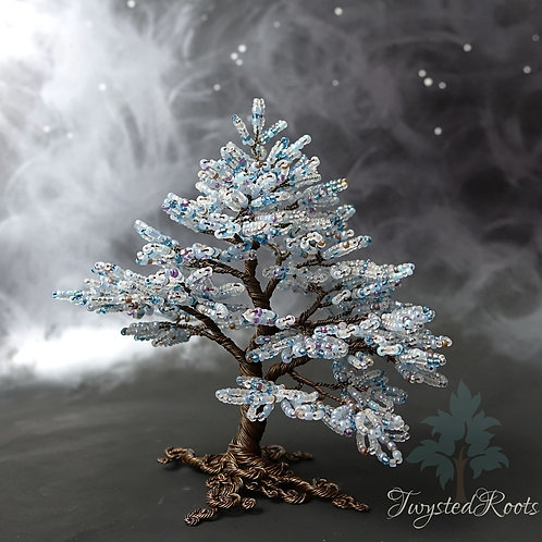 Light blue bead and antique copper wire tree sculpture by Twysted Roots