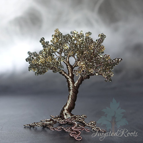 Shine - Miniature bead and wire tree sculpture