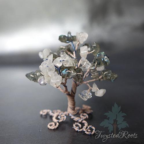 Miniature labradorite and rainbow moonstone wire tree sculpture