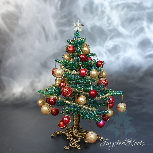 Bead and wire Christmas tree sculpture in traditional green, gold and red by Twysted Roots
