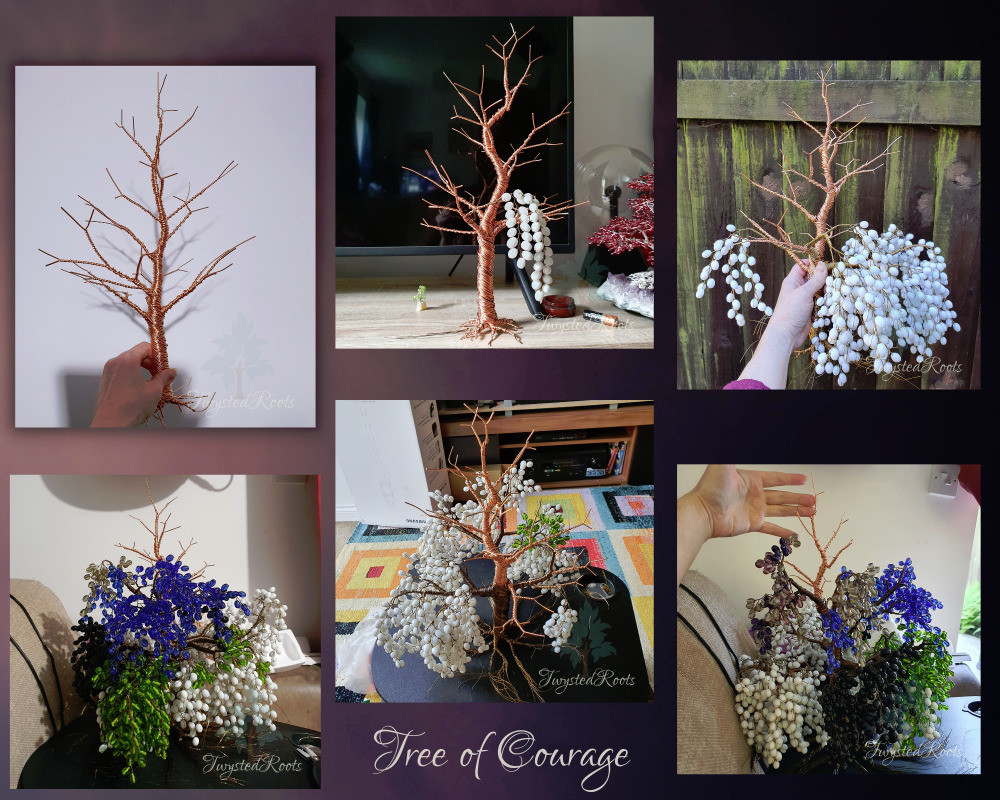 """A collage of 6 progress photos on a background of dusky pink / purple / black. Text at the bottom in the middle reads """"Tree of Courage""""."""