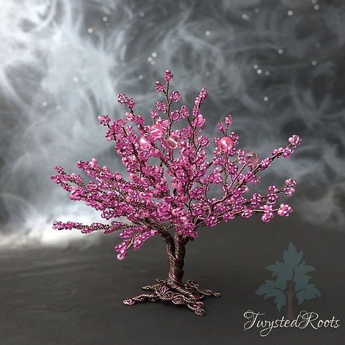 Pink bead and wire tree sculpture by Twysted Roots