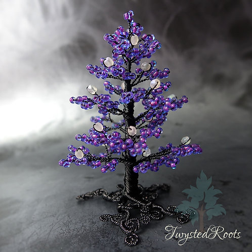 Purple and black bead and wire tree sculpture by Twysted Roots