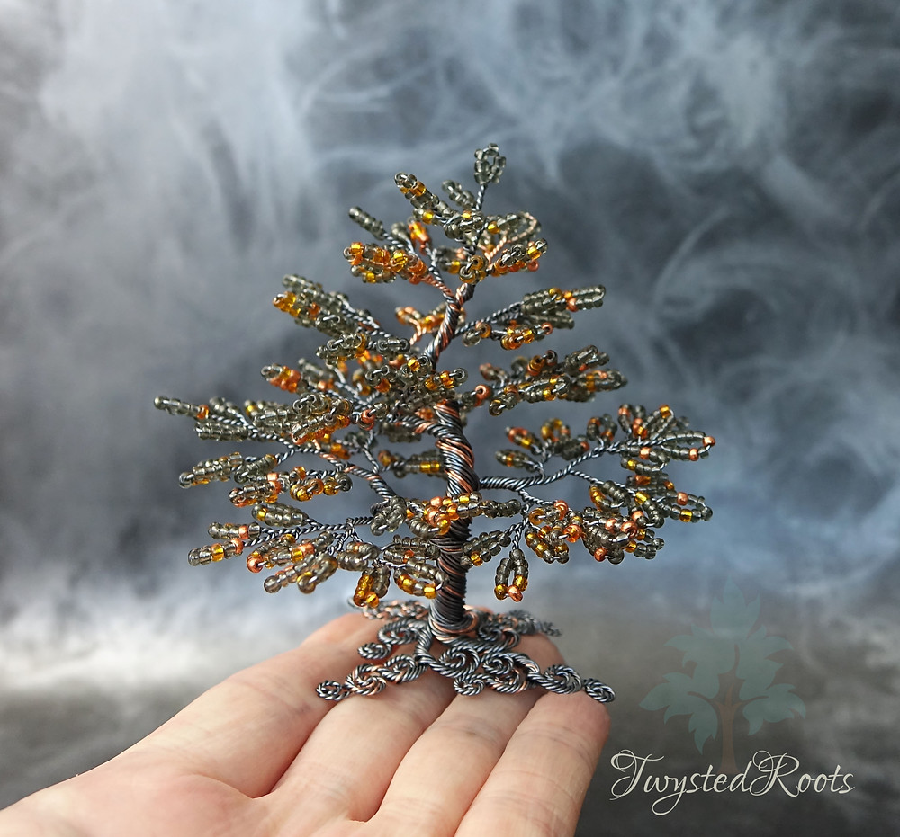 Copper and grey bead and wire tree sculpture by Twsyted Roots