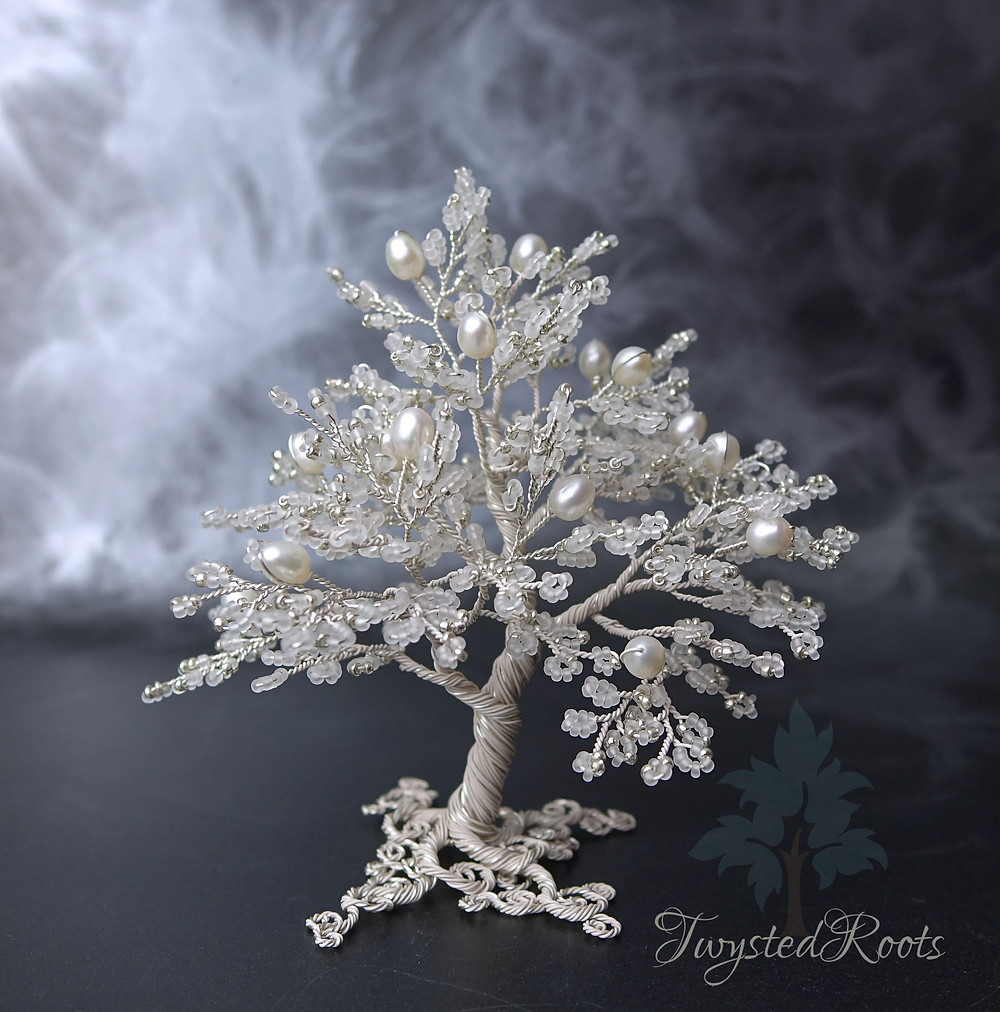 White, silver and pearl bead and wire tree sculpture by Twysted Roots