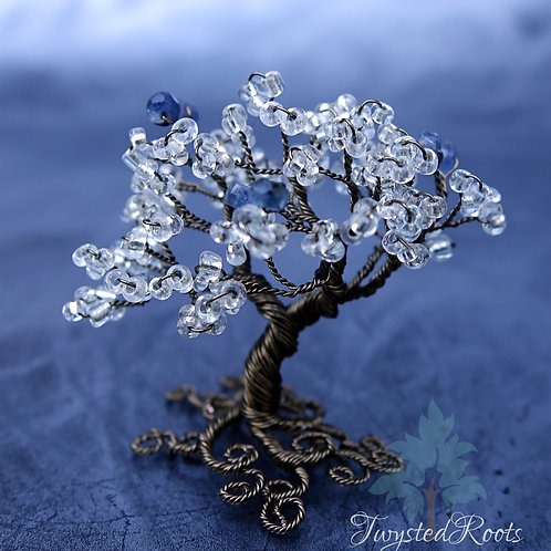 Sapphire and ice - miniature bead and wire tree sculpture