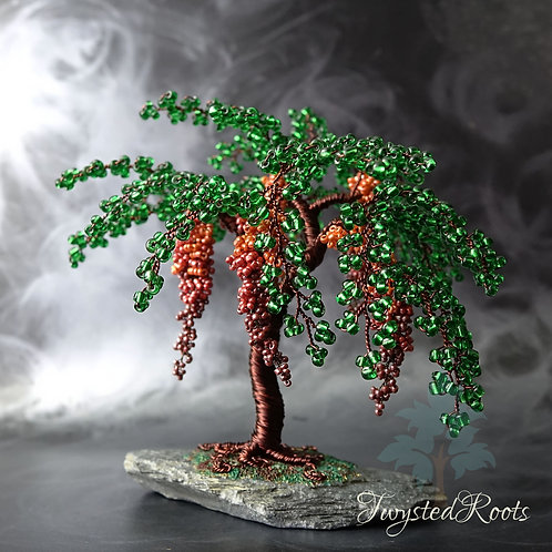 weeping style bead and wire tree sculpture in orange and green