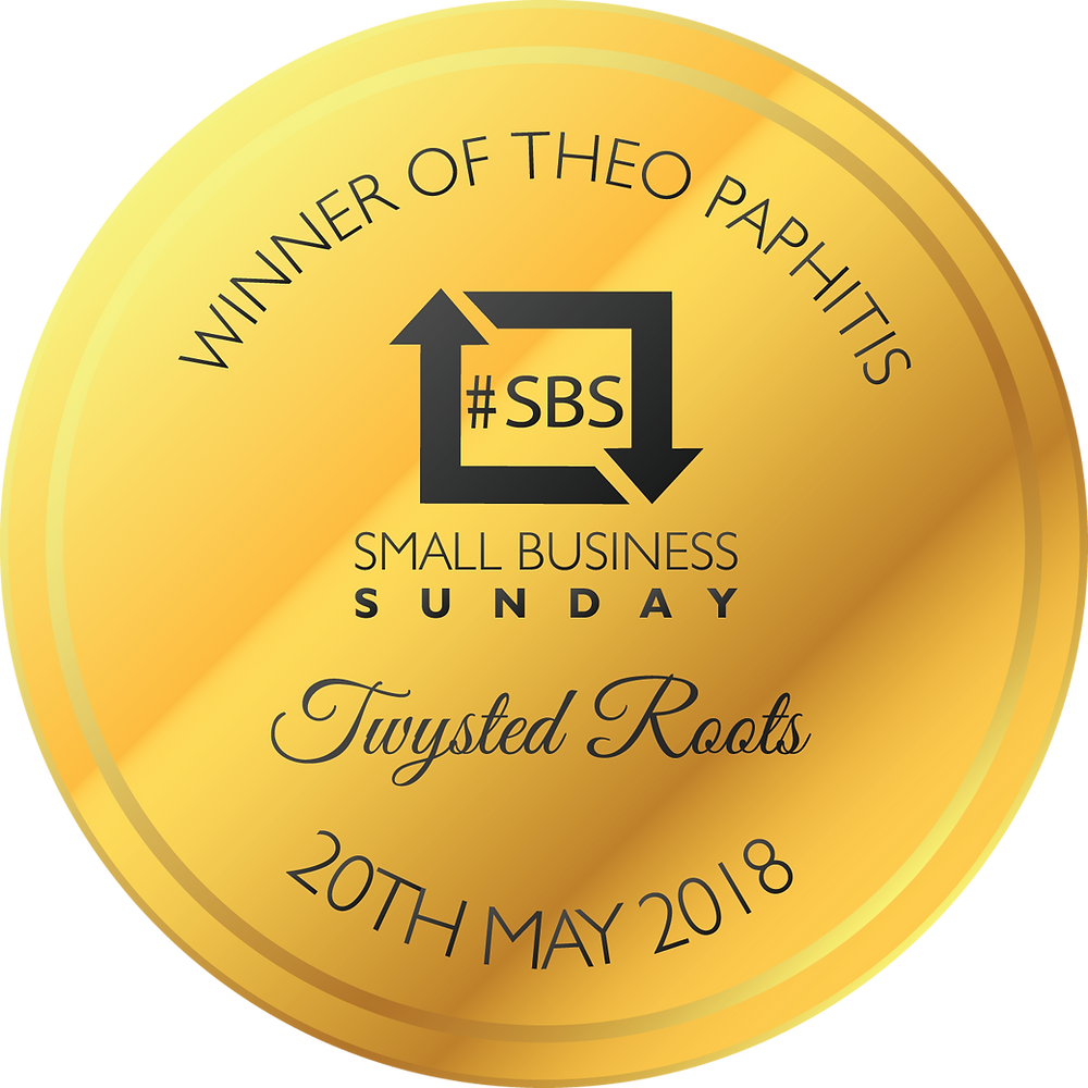"Text reads ""Winner of Theo Paphitis #SBS Small Business Sunday Twysted Roots 20th May 2018"" Text is on a round yellow gold badge graphic design"