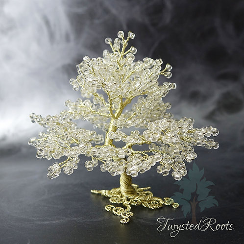 Front view white and champagne coloured bead and wire tree sculpture by Twysted Roots