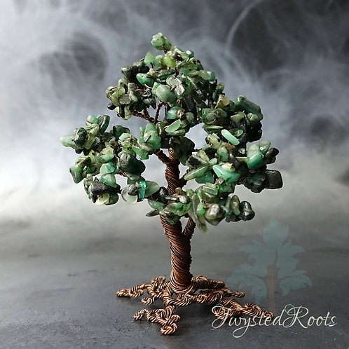 Emerald gemstone wire tree sculpture by Twysted Roots