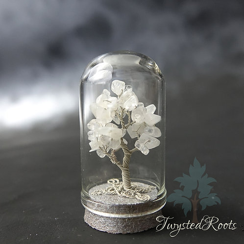Rainbow moonstone miniature tree sculpture in a glass dome by Twysted Roots