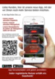 Plakat oder Aufsteller zur Bewerbung der Fleischer-App / Metzger-App