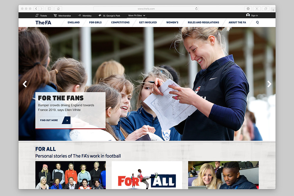 Starlets feature on the FA homepage