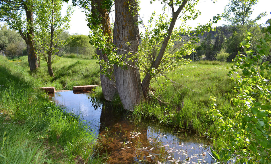 Canal de agua a su paso por la finca
