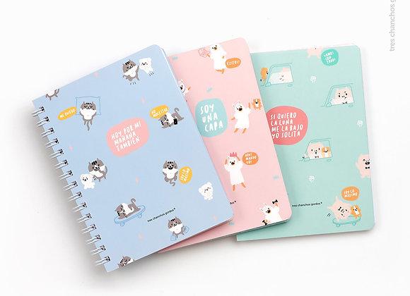 Pack de 3 cuadernos anillados A5