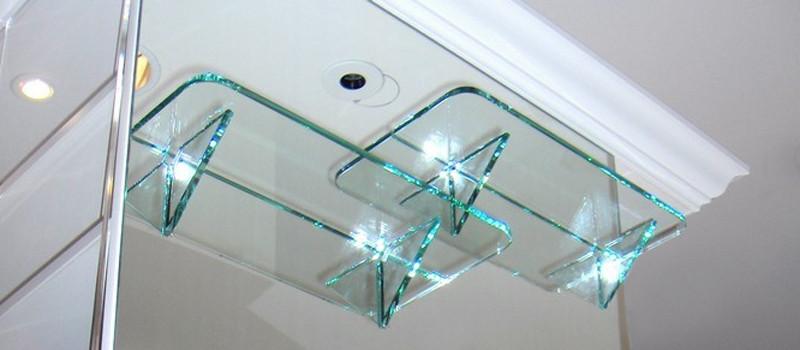 Зеркало с полкой из стекла