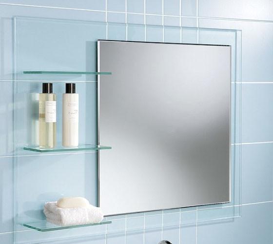 Зеркало с полочкой из стекла