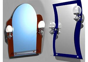 Фигурное зеркало с полкой