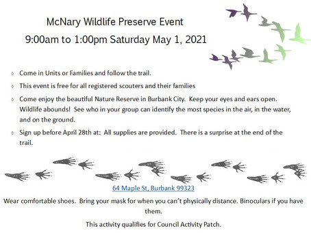 McNary Wildlife Preserve Event - May 1st