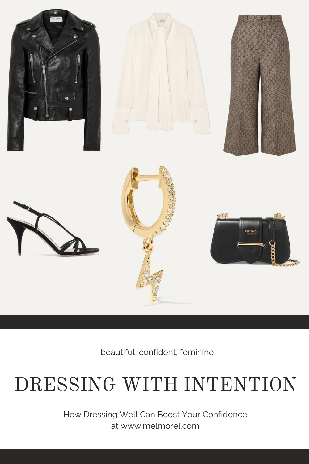 Dressing with intention - stylish - cream silk blouse - black leather jacket