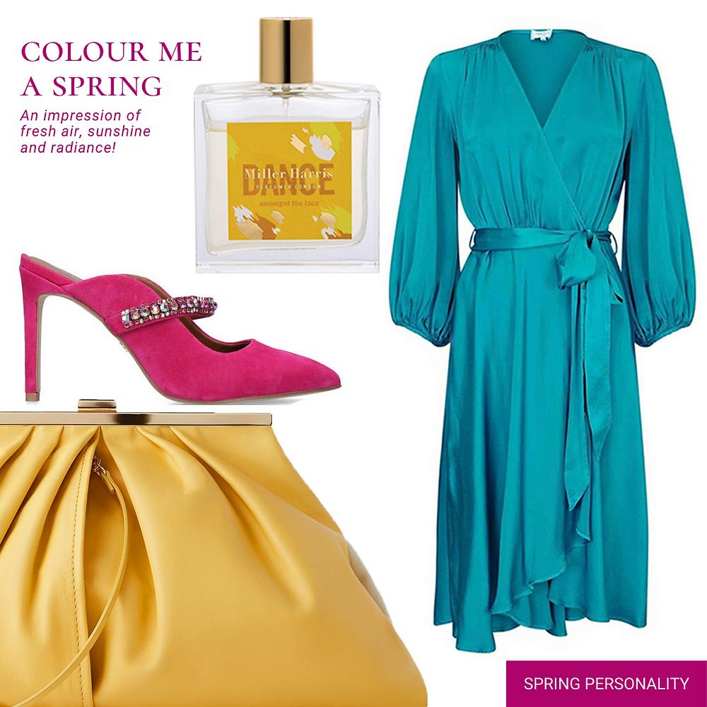 Ghost London blue dress - Miller Harris Dance Perfume - Kurt Geiger Pink Shoes - Zara oversized bag - yellow leather bag - blue wrap dress - spring personality outfit - spring personality look - spring look - spring outfit - spring outfit for 2020