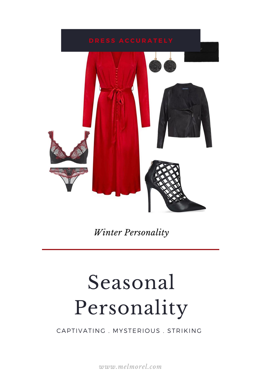 Winter Personality - PU waterfall jacket - red midi dress - black cage stiletto heels - black suede envelope clutch - black diamond earrings - deep plunge from aubade - mini coeur brief from aubade