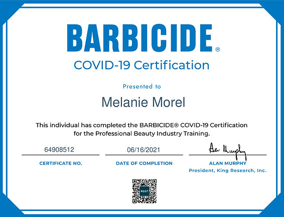 Barbicide Certificate Covid-19 Melanie Morel
