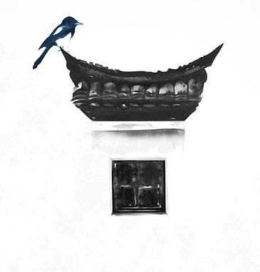 Japanese sumi-e painting. Bird and window.png