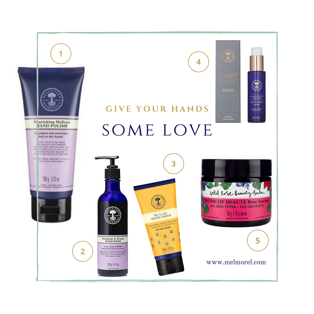neal's yard hand care-hand serum-rose balm-bee lovely hand cream-nourishing melissa hand polish-geranium and orange hand wash-give your hands some love-hand care products-