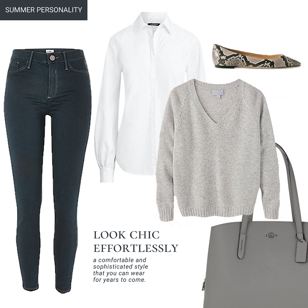 skinny grey jeans-white button-down shirt-cashmere jumper-jimmy choo flat-coach pebble bag-ralph lauren white shirt-river island grey molly jeans-pure collection casmere jumper-animal print flat-coach leather handbag-coach handbag-coach tote bag-how to look chic-classic outfit-elegant outfit-summer personality outfit