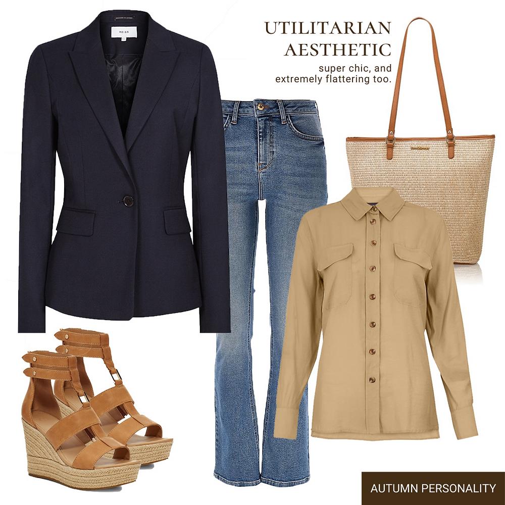 utilitarian-tailored blazer-flair jeans-raffia totte bag-utilitarian shirt-brown leather espradrille-reiss blazer