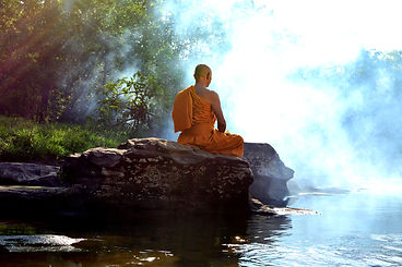 Monk in Buddhism Meditation in nature .j