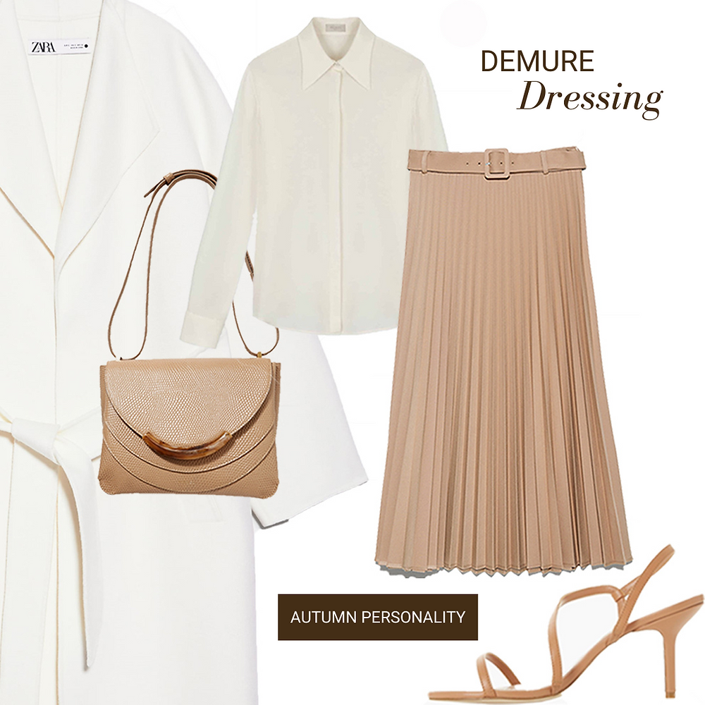 demure-daywear-pleated skirt-silk blouse-zara coat-wandler leather bag-barely-there-shoes-70's look-office look-autumn personality-