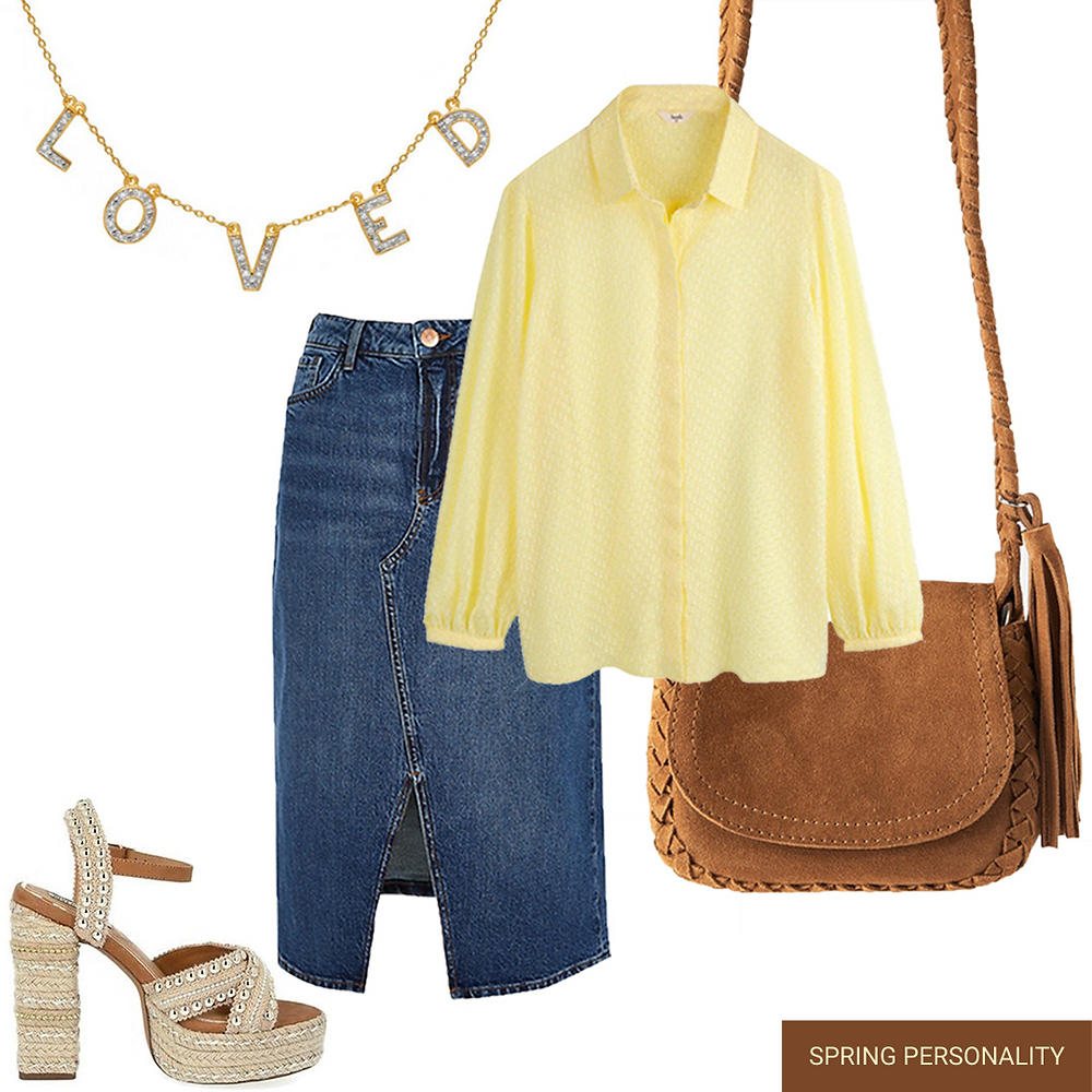 denim midi skirt-butter yellow shirt-brown sued mini bag-beige studded espadrilles-loved lola rose necklace-brown bag-yellow shirt-yellow blouse-loved diamond necklace-espadrilles-zara bag-hush blouse-hush shirt-river island denim skirt-spring 2020 fashion trend