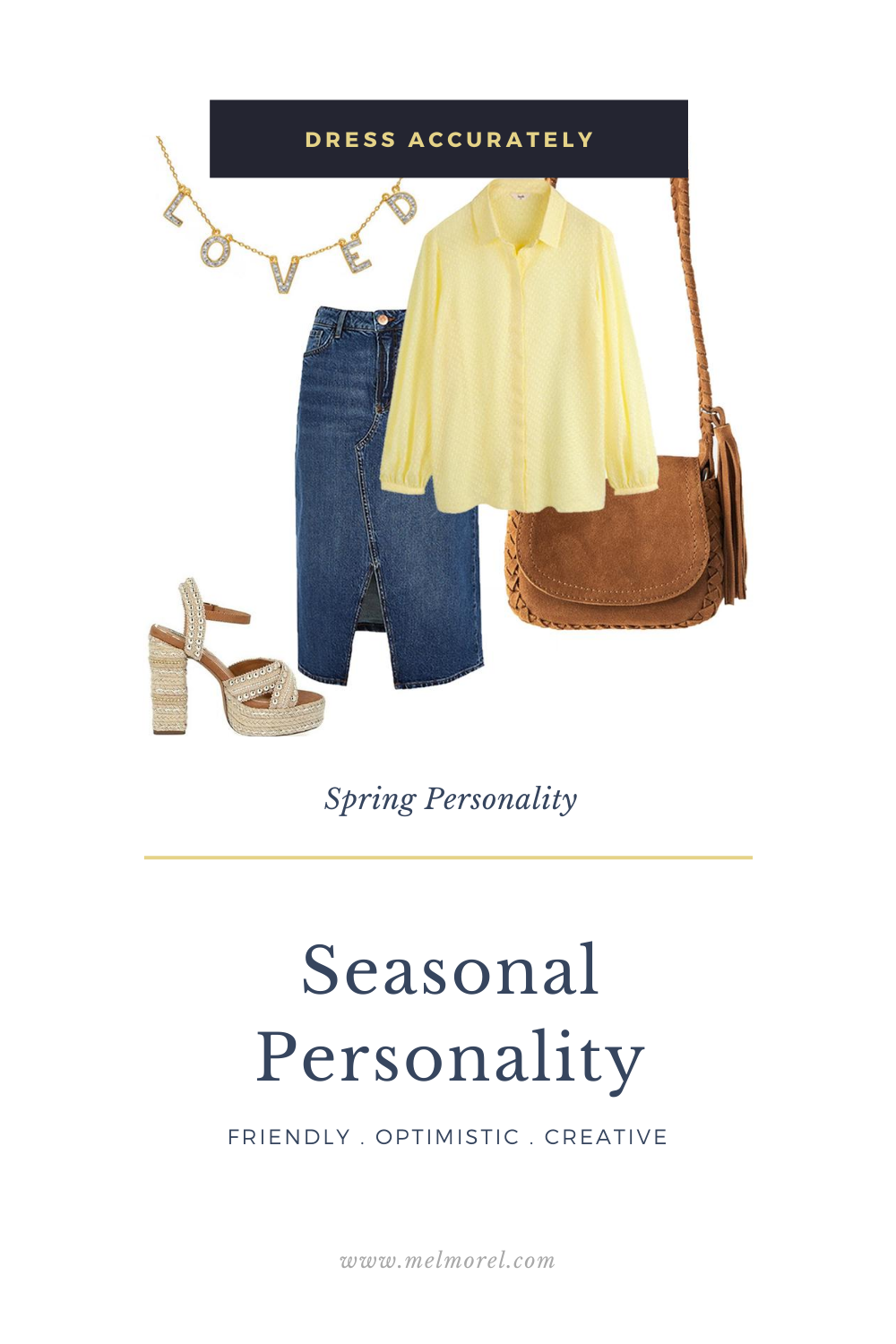 Seasonal Personality - yellow shirt - denim skirt - loved necklace - brown suede bag