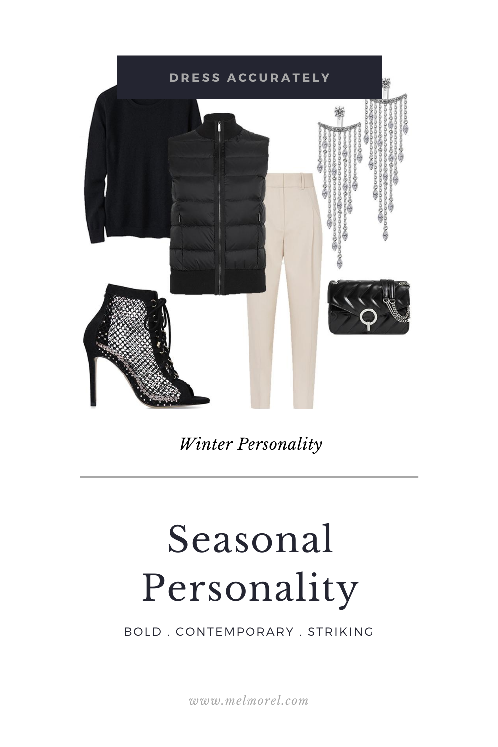 Winter Personality - sleeveless padded front gilet - front pleat trousers - cashmere slit fit crew neck sweater - black embellished lace up boot heels - leather shoulder bag - a-lister ear jacket earrings